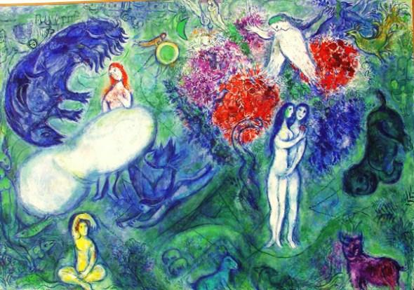 Adán y Eva de Marc Chagall.
