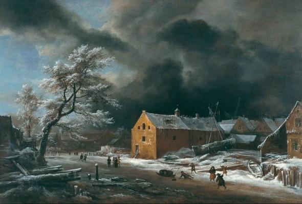 Jacob Isaacksz. van Ruisdael y Colaboradores (?) Paisaje de invierno