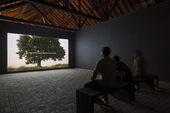 Amar Kanwar. 'La escena del crimen, 2011. Video instalación. The Sovereign Forest. Bienal de Kochi, India 2012. Foto: Dhiraj Thakur.