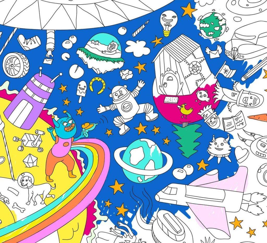 Poster para colorear cosmos OMY