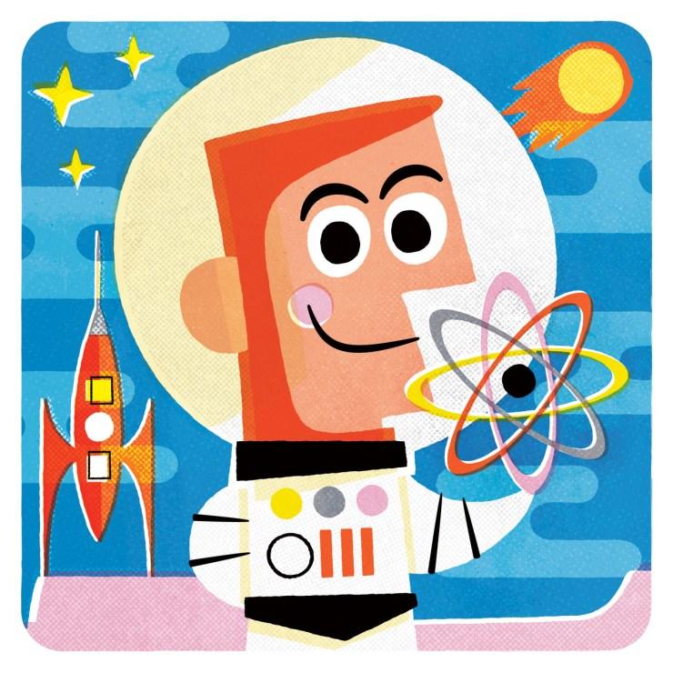 Ilustración retro astronauta Pintachan