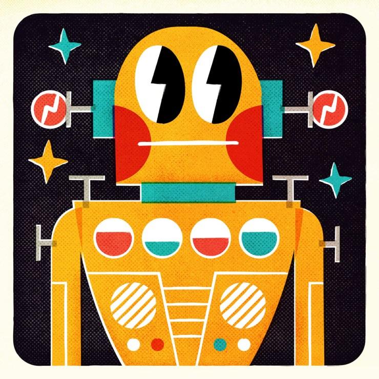 Ilustración retro robot Pintachan