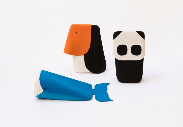 Peluches ballena, tucán y oso panda hechos en fieltro. Ionna Vautrin