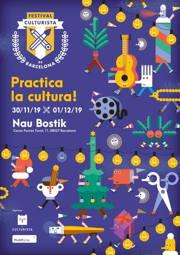 Festival Culturista Barcelona talleres familiares. Cartell de Joana Casals