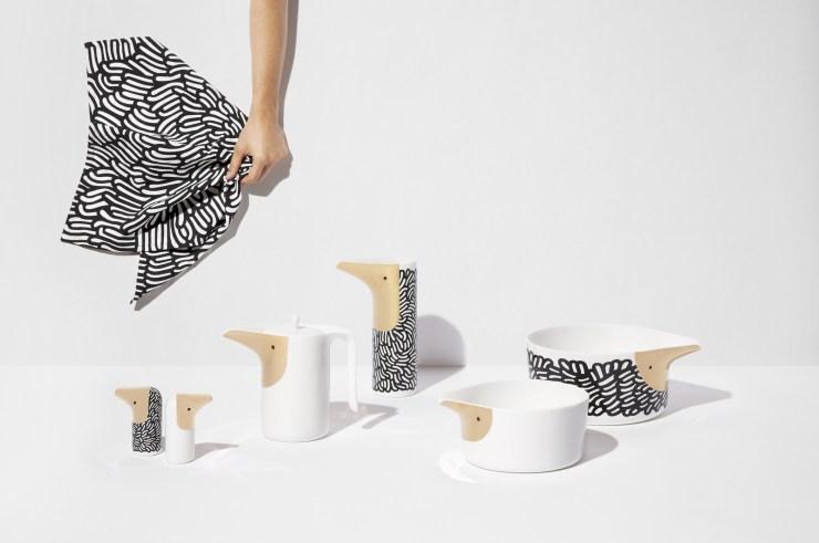 Vajilla con forma de pájaros. Ionna Vautrin