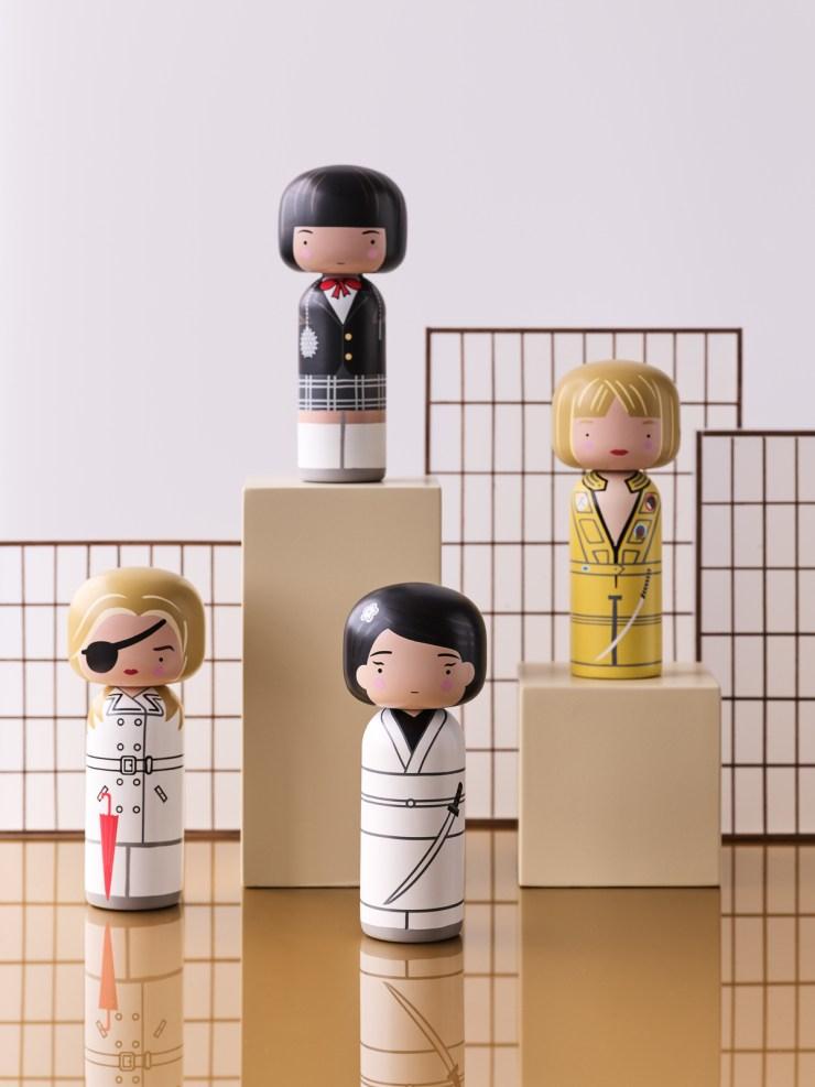 Tarantino Kokeshi dolls by Lucie Kaas. Kill Bill. Escuadrón Asesino de Víboras Mortales
