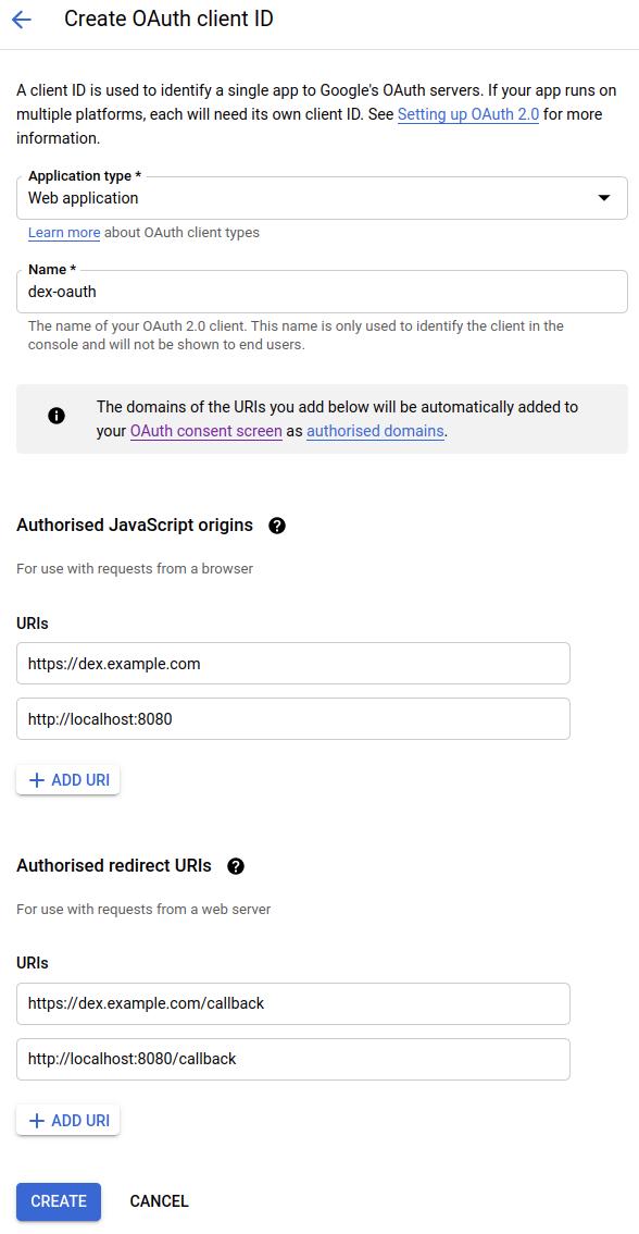 Google OAuth 2.0 settings for Dex
