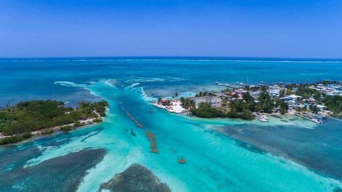 Caye Caulker Belize Barrier Reef aerial
