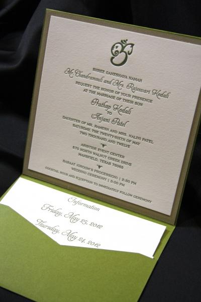 Kodali Wedding Invitation Itinerary Letterpress