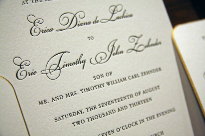 Engraved Elegance Wedding Invitation With French Acanthus Details And Formal Calligraphy