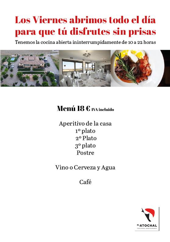 menu comida y cena viernes