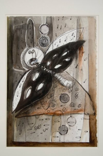 """Elba Damast, """"Costa Rica Poem 2,"""" 1993 Acrylic and ink on paper 21"""" x 18"""" Collection of the family"""