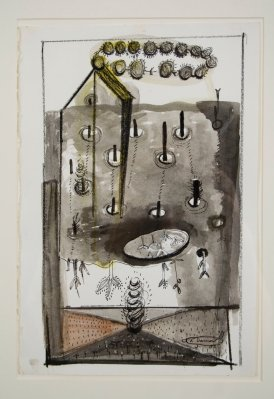"""Elba Damast, """"Costa Rica Poem 7,"""" 1993 Acrylic and ink on paper 21"""" x 15"""" Collection of the family"""