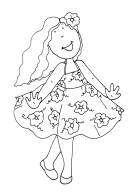 colorear niña bailando