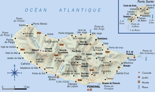 Mapa de la isla de Madeira