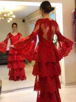 Özel Tasarım Kırmızı Kına Elbisesi Kiralık