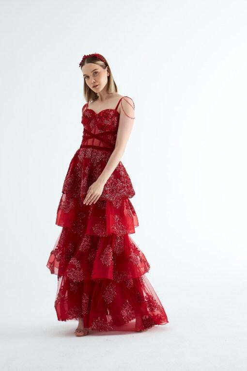 Sagaza Kırmızı Kına Elbisesi