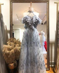 Özel Tasarım Gri Nişan Elbisesi Kiralama