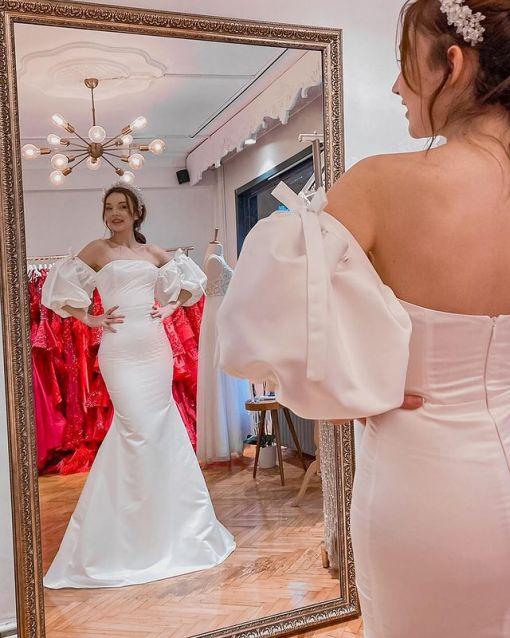 Balon Kollu Beyaz Elbise