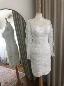 Uzun Kollu Nikah Elbisesi