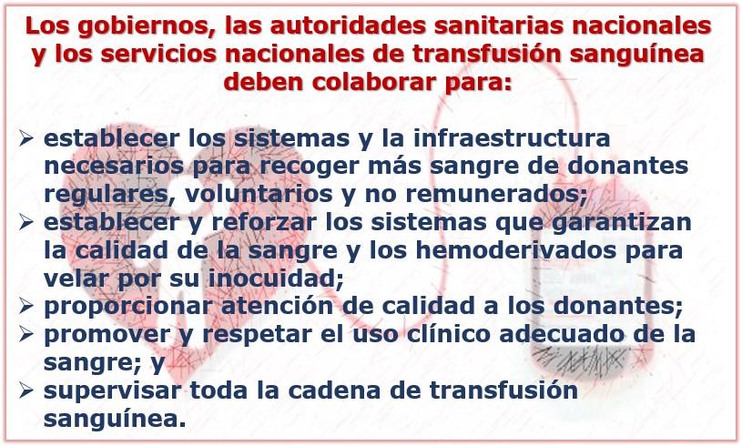 Sangre segura: gobiernos y autoridades sanitarias