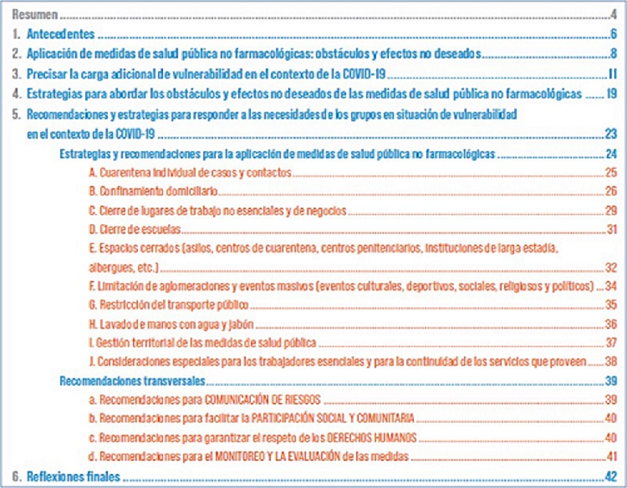 Contenido del documento sobre medidas de salud pública no farmacológicas