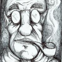 """""""Hombre con pipa"""" dibujo con lapicera"""