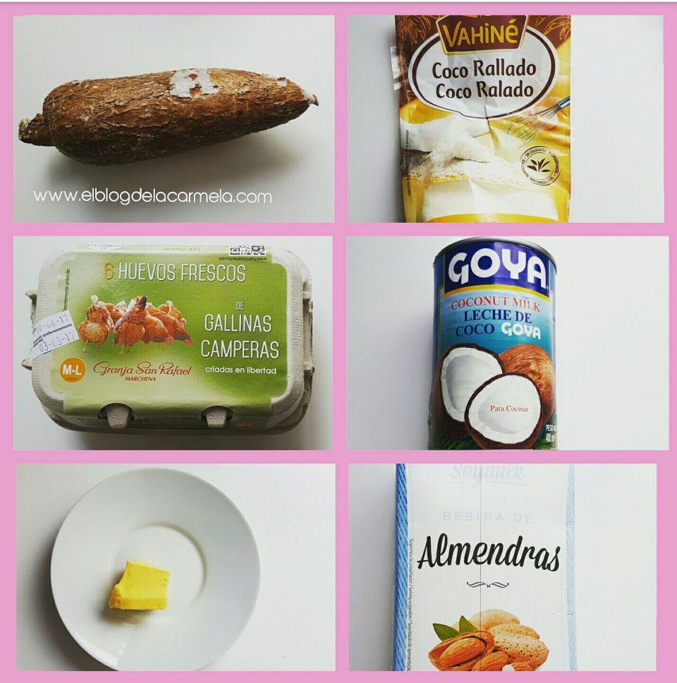 Ingredientes para elaborar Bizcocho de yuca y coco
