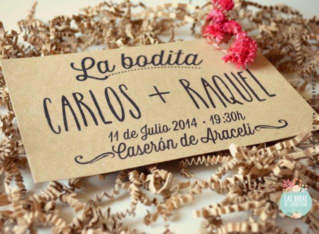 Invitaciones de boda: Tarjetón en kraft para el 25 aniversario