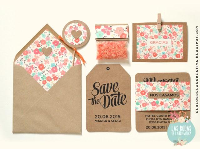Invitaciones de boda: Tarjetón kraft + Pattern de flores