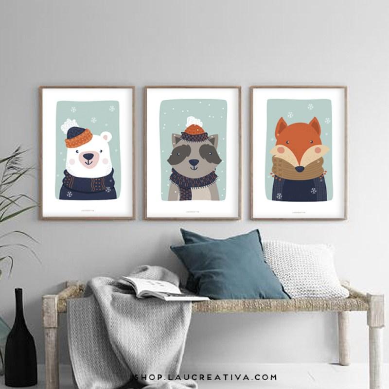 Lámina_Poster-habitacion-infantil-zorro-mapache-oso-polar-ilustracion-_Laucreativa_