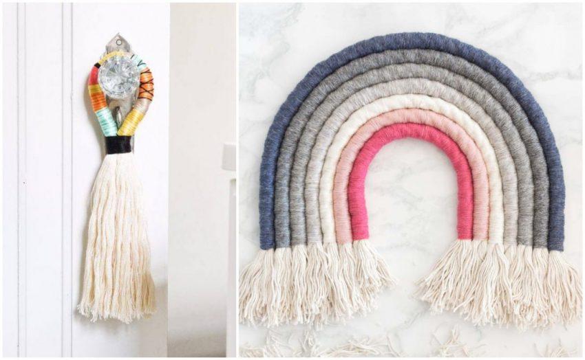 DIY | Arcoiris y colgador de puerta con hilo y cuerda - El blog de Laucreativa