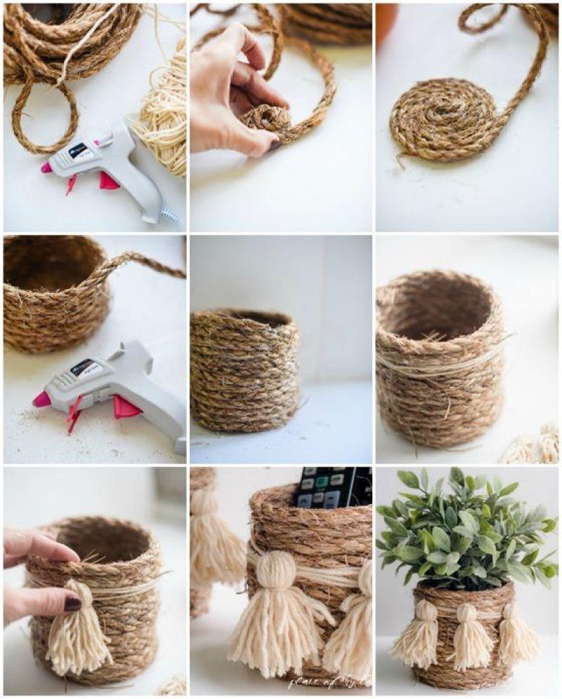 DIY | Haz tus propias macetas con cuerda - El blog de Laucreativa