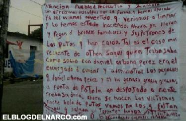 Sicarios del CDG deja 2 narcomantas en Tecolutla, Veracruz