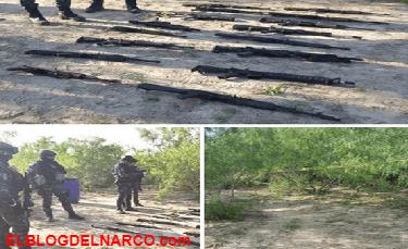 Decomisan arsenal en Río Bravo, Tamaulipas.