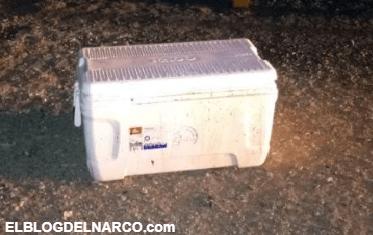 Dejan siete cabezas en una hielera en la T de Bácum, Sonora