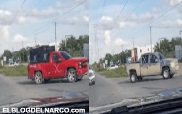 VÍDEO Captan convoy del CDG en caravana de 15 camionetas armados hasta con un monstruo blindado en Miguel Alemán, Tamaulipas