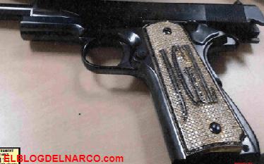 La ostentosa pistola de diamantes que portaba el Chapo Guzmán