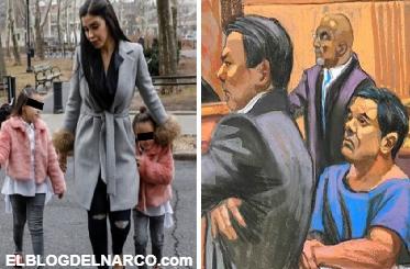 Conmueve reacción de El Chapo al ver a Emma Coronel con sus hijas en juicio width=
