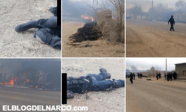 Fotografías, emboscan a policías en Gómez Farías, Chihuahua, tres mueren, hay patrullas calcinadas