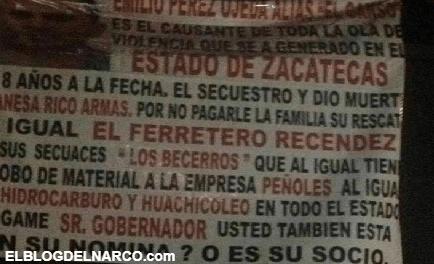 ¿CJNG y Cártel de Sinaloa también están detrás de narcomantas en Zacatecas (IMÁGENES)