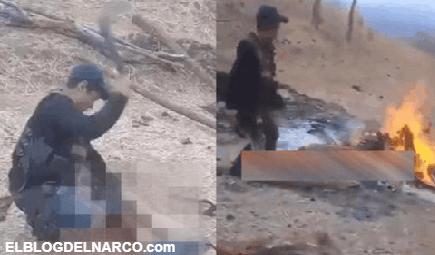 Vídeo donde sicarios destazan y hacen carne asada a un hombre en Zitácuaro, Michoacán.