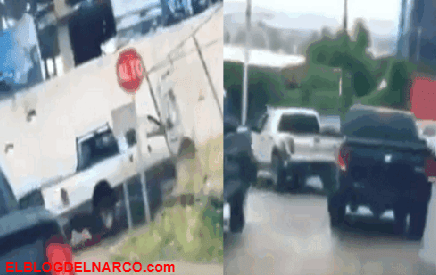 A plena luz así viaja El Comando de El Mayo circulando en convoy de trocas por calles de Durango