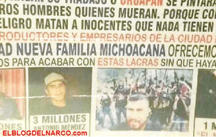 Sicarios de la LNFM deja narcomanta donde exhiben y ofrecen recompensa por desertores del cartel