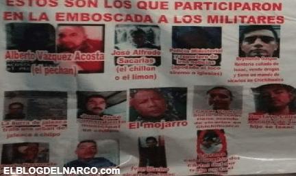 Una narcomanta exhibió a los sicarios del Cártel del Sur que ejecutaron a 3 militares en Guerrero