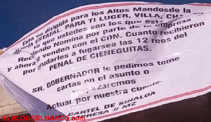 Narcomantas del Mayo Zambada en Cieneguilla, Zacatecas