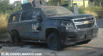 Fotos de Camionetas abandonadas con Sicarios muertos deja enfrentamiento entre el CDG y el CDN