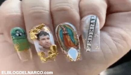 VIDEO Mujer presume uñas con imagen de el Chapo Guzmán y Virgen de Guadalupe