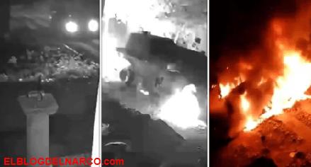 El momento exacto en que un vehículo monstruo del CJNG explotó en una zona de influencia de Cárteles Unidos