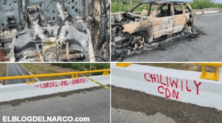 FOTOS El Cartel del Noreste ejecutan a hombre y lo queman con todo y camioneta